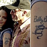 Angelina Jolie's upper left arm had Billy Bob Thornton written all over it before the couple divorced in 2003.