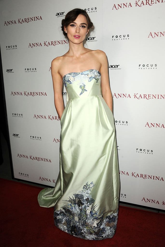 For the LA premiere, Keira showed off a soft Erdem gown.