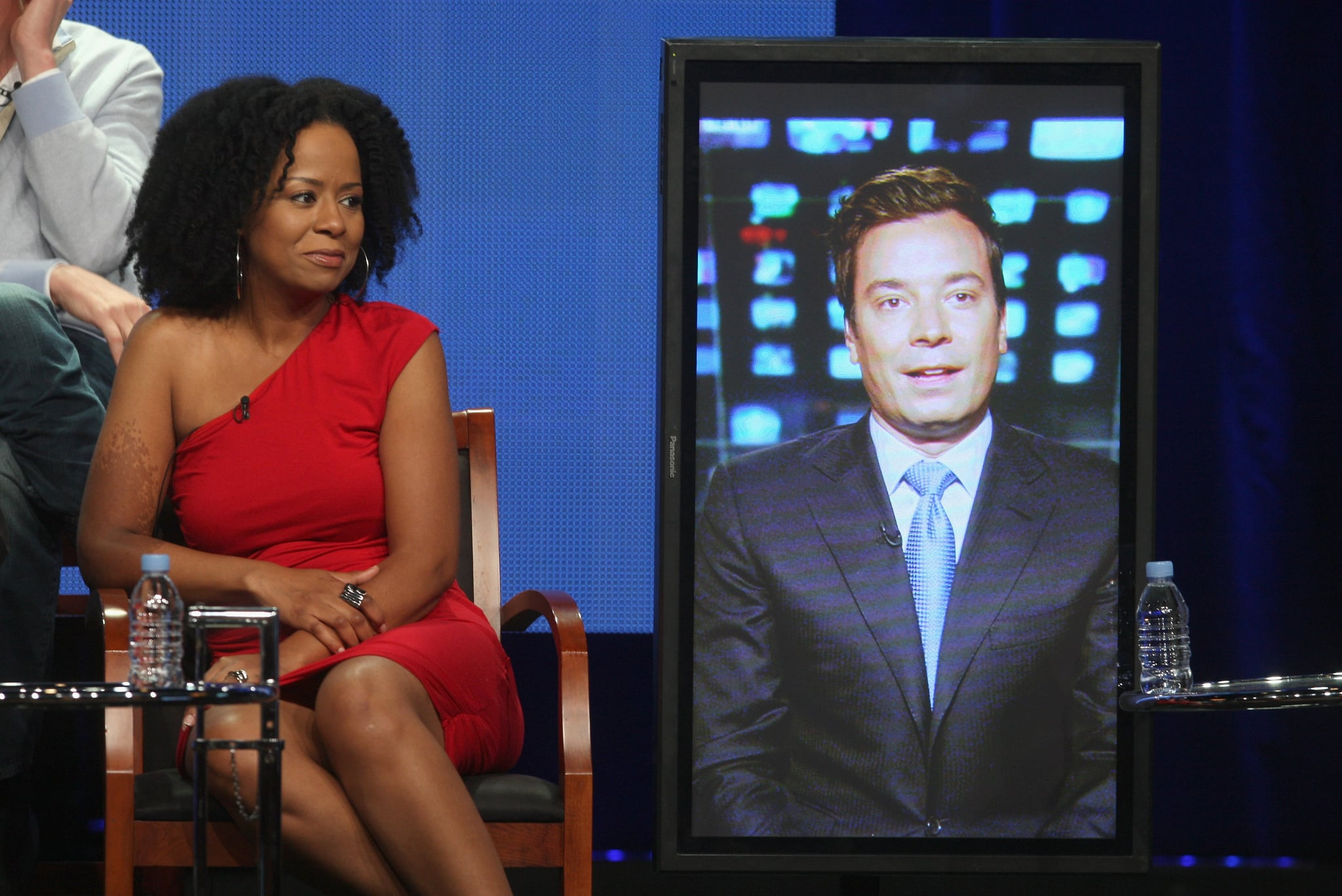 Guys With Kids executive producer Jimmy Fallon joined the cast via satellite from New York.
