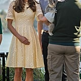 A favorite pale-primrose eyelet dress by Zimmermann had its second outing at Taronga Zoo in Sydney.