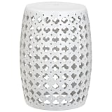 Afavieh Castle Gardens Collection Lacey White Glazed Ceramic Garden Stool
