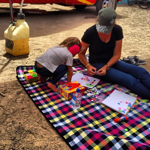 Willow Hart and Pink did some arts and crafts projects during dad Carey Hart's race.  Source: Instagram user hartluck