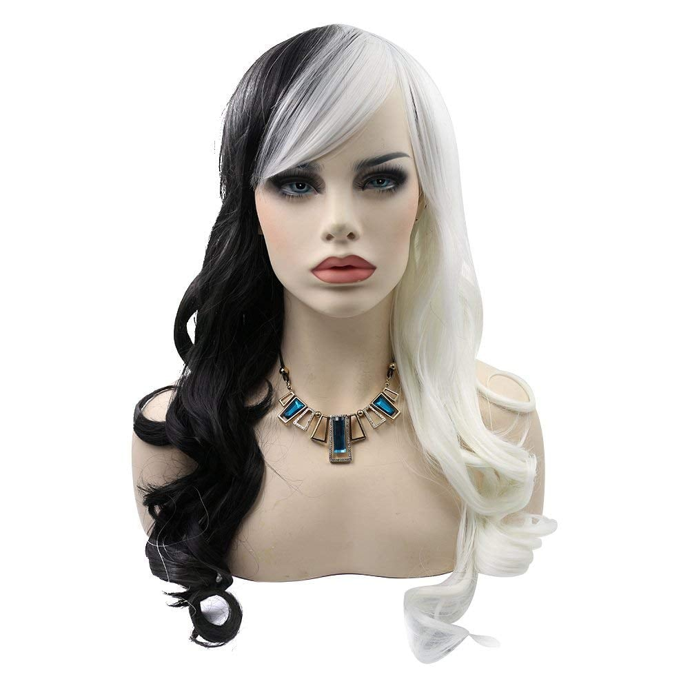 kalyss curly white and black cosplay wig with bangs | halloween wigs