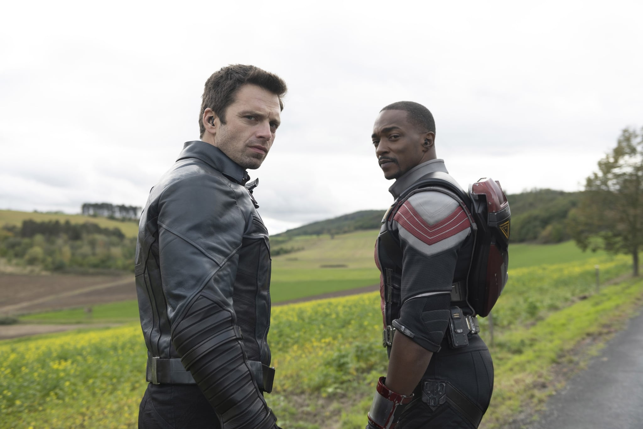 THE FALCON AND THE WINTER SOLDIER, from left: Sebastian Stan as Winter Soldier, Anthony Mackie as Falcon, (Season 1, ep. 102, aired Mar. 26, 2021). photo: Julie Vrabelova / Disney+/Marvel Studios / Courtesy Everett Collection