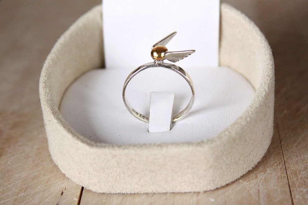 Golden Snitch Handmade Sterling Silver, Gold Plated Ring ($89)