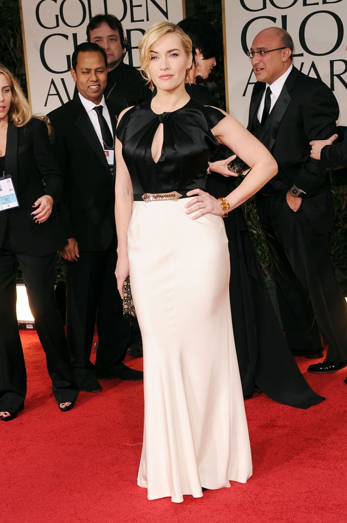 Kate Winslet was decked out in a white and black gown for tonight's Golden Globe Awards in LA. She's up for two awards tonight with a nod in both TV and film categories. Kate's role in Roman Polanski's Carnage earned her a nomination in the best actress in a musical or comedy category, and she's also getting recognition in the best actress in a miniseries or made for TV film category for her performance in HBO's Mildred Pierce. It's likely Kate will run into her Titanic costar, and fellow nominee, Leonardo DiCaprio during the show — the pair will be reuniting on the big screen later this year when their classic James Cameron film is rereleased in 3D! Stay tuned for more red carpet coverage and be sure to vote on all of Fab and Bella's fashion and beauty polls!