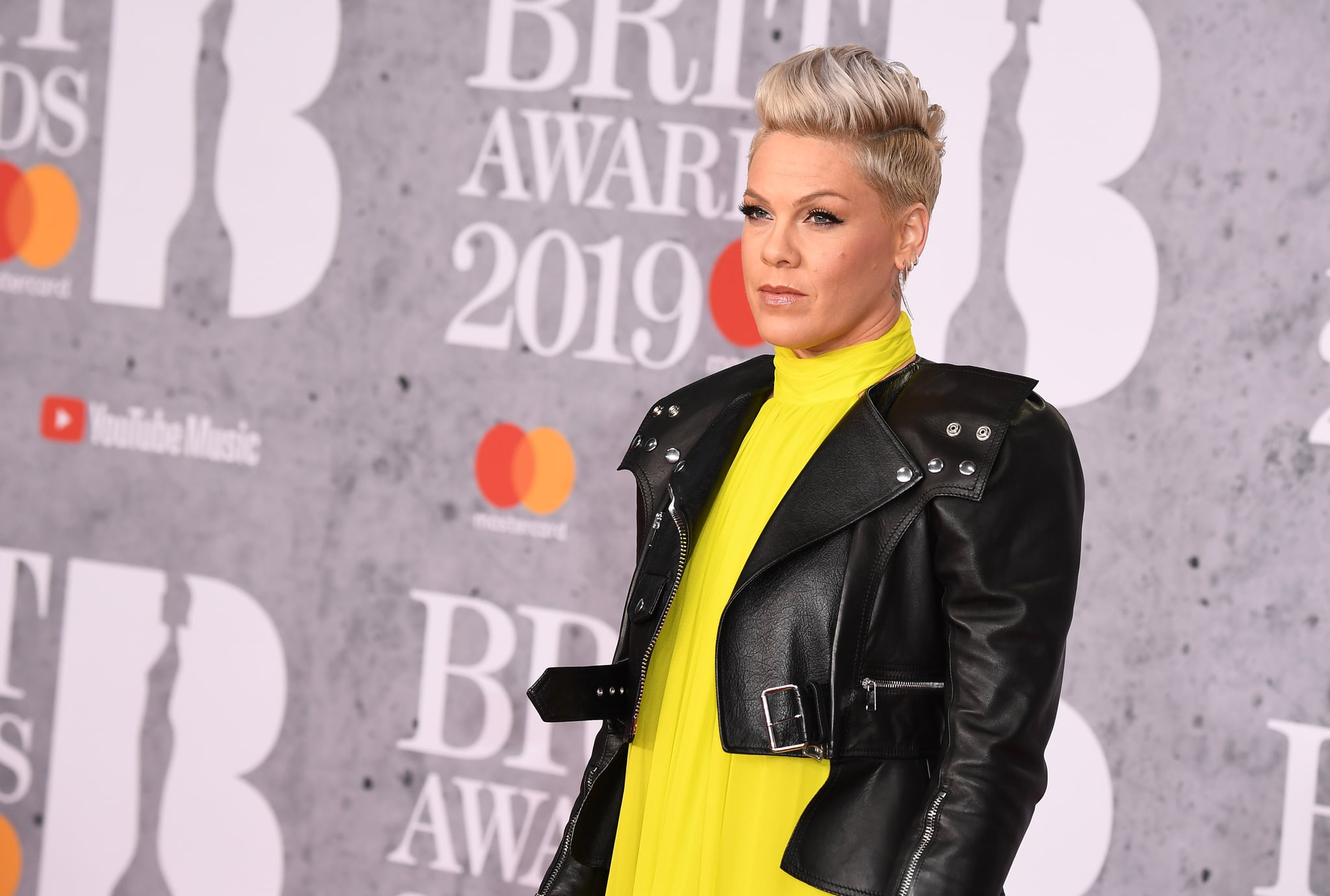 LONDON, ENGLAND - FEBRUARY 20: (EDITORIAL USE ONLY) Pink, winner of the Outstanding Contribution to Music Award, attends The BRIT Awards 2019 held at The O2 Arena on February 20, 2019 in London, England. (Photo by Jeff Spicer/Getty Images)