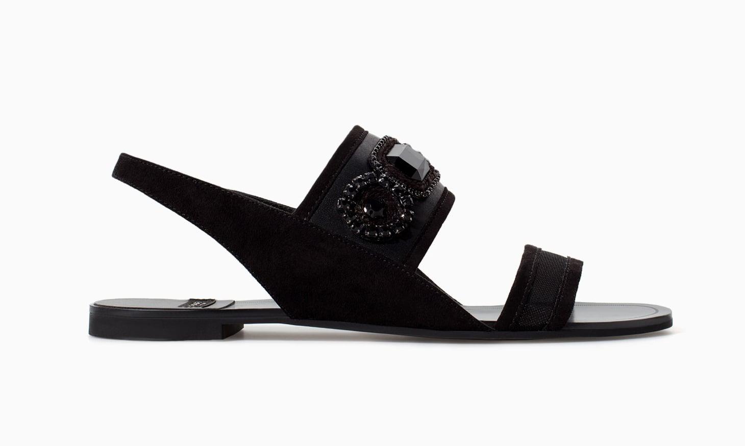 Zara black flat sandals with rhinestones ($60)