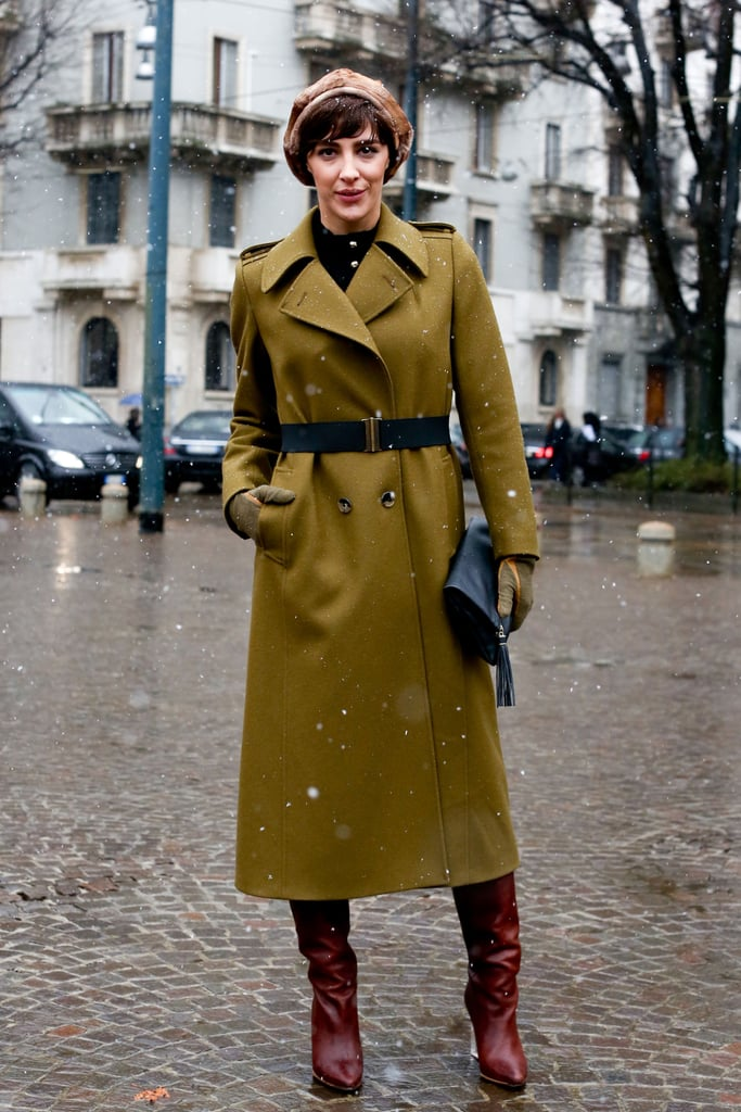 A streamlined military coat made this look a standout.