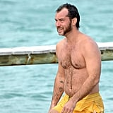 Jude Law showed off his body (and a short pair of yellow shorts) when he hit the beaches of Saint-Tropez in October.