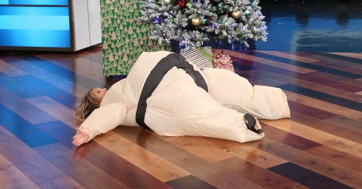 Ellen Degeneres Tickets >> Jennifer Aniston in a Sumo Suit on The Ellen DeGeneres Show | POPSUGAR Celebrity