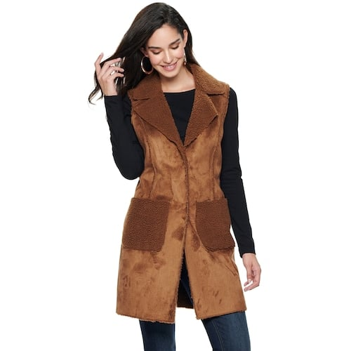 Nine West Single-Breasted Faux-Shearling Vest