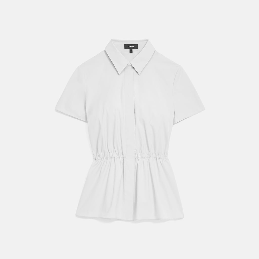 Theory Cinched Short-Sleeve Shirt in Stretch Cotton