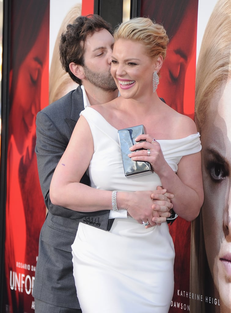 Josh Kelley and Katherine Heigl put their romance on full display when they attended the LA premiere of her new film, Unforgettable, on Tuesday night. The couple, who welcomed their third child earlier this year, couldn't keep their eyes (and hands) off each other as they walked the red carpet. While Josh looked sharp in a gray suit, Katherine showed off her gorgeous figure in a formfitting white gown. Not only did the singer look so proud of his wife with a few loving glances, but he also couldn't help but pull her in for a sweet kiss on the cheek. Their love is just as precious as their little family.       Related:                                                                                                                                Katherine Heigl Pretended to Date John Mayer So That Her Husband Would Commit​​