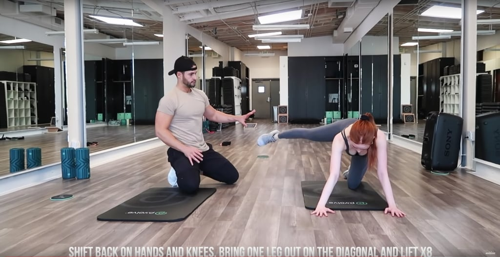 Get down on your hands and knees, and shift your body back a bit. Bring one leg out diagonally, and lift it up and down while engaging your core.