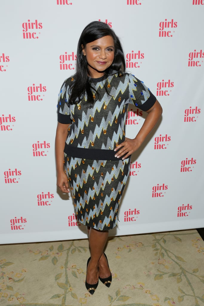 Mindy was right on trend in matchy-matchy separates at the Girls Inc. LA Celebration luncheon.