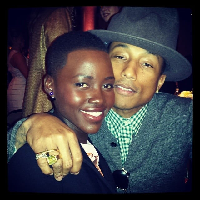 Lupita Nyong'o shared this snap with Pharrell Williams at the Academy Awards Nominees Luncheon in LA. Source: Instagram user lupitanyongo
