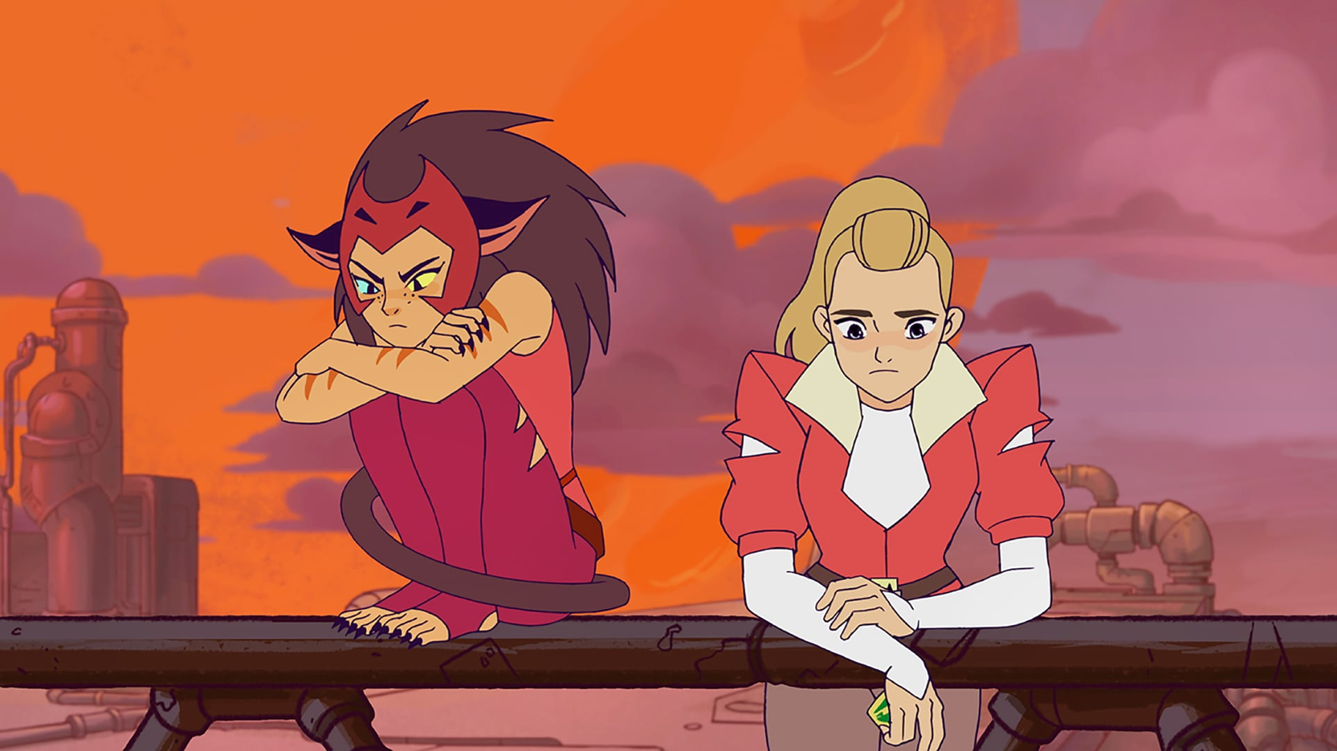 SHE-RA AND THE PRINCESSES OF POWER, from left: Catra (voiced by AJ Michalka), Adora, (Season 1, airs Nov. 16, 2018). photo: Netflix / Courtesy: Everett Collection