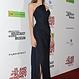 Angelina wore nude heels with her Romona Keveza gown.