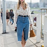 Wear a Sheer Boho Blouse With a Denim Midi Skirt