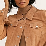 Blank NYC Cropped Suede Trucker Jacket