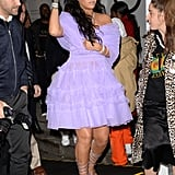 Rihanna arrived at the launch of her label, Fenty Beauty, in 2017 wearing a purple dress from Molly Goddard, René Caovilla shoes, and Chopard jewelry.