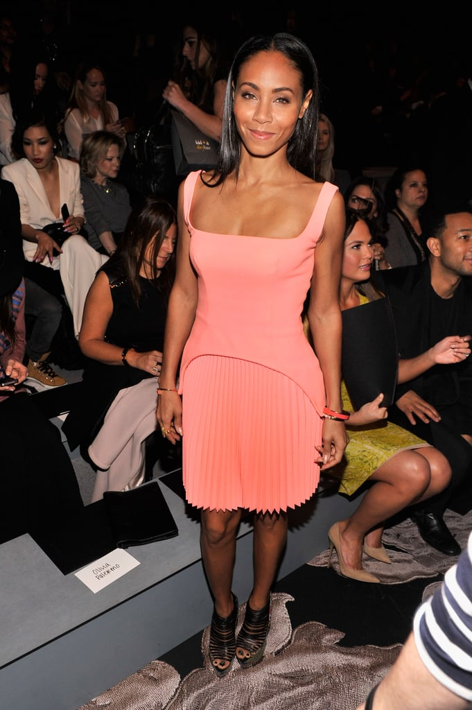 Jada Pinkett Smith's pleated coral dress punched up Vera Wang's front row.