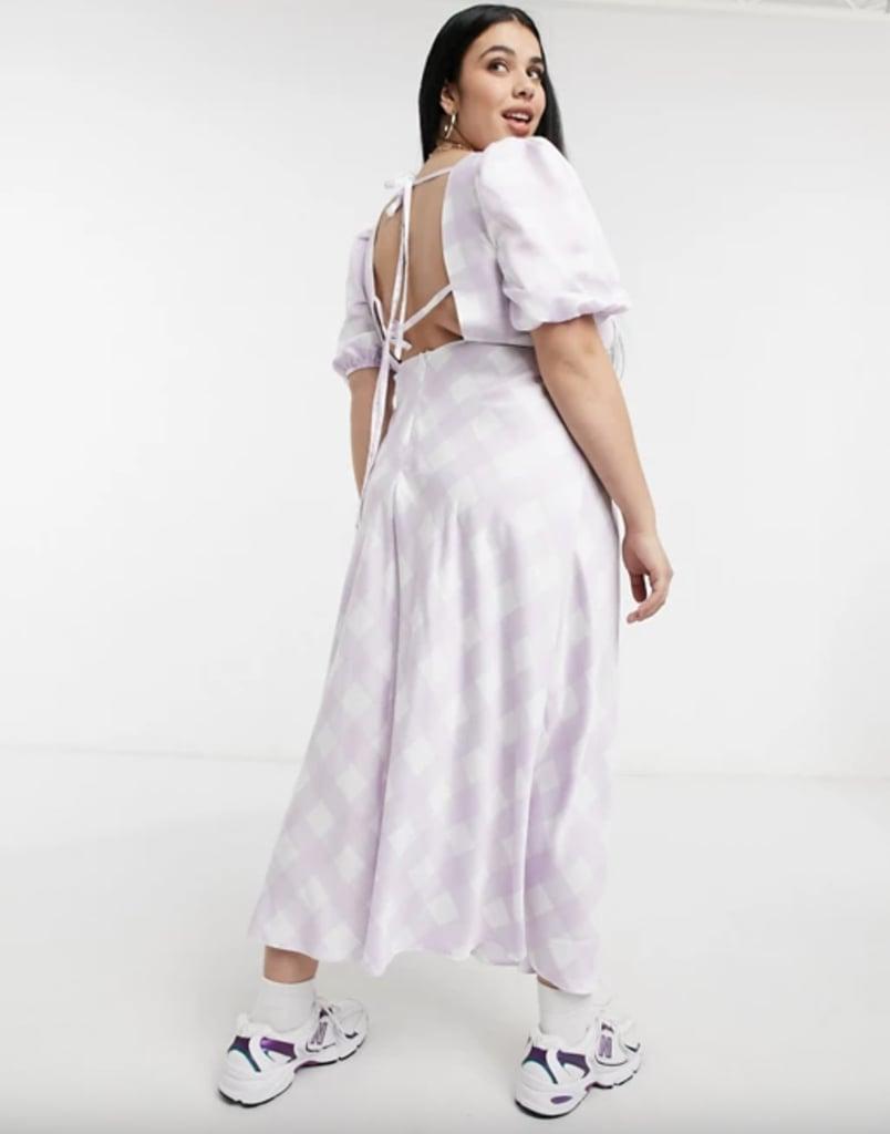 ASOS Design Curve Satin Puff Sleeve Open Back Midi Tea Dress