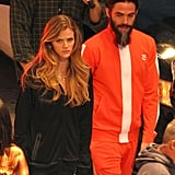 Chris Pine sported a big beard on the LA set of Stretch with Brooklyn Decker on Tuesday.