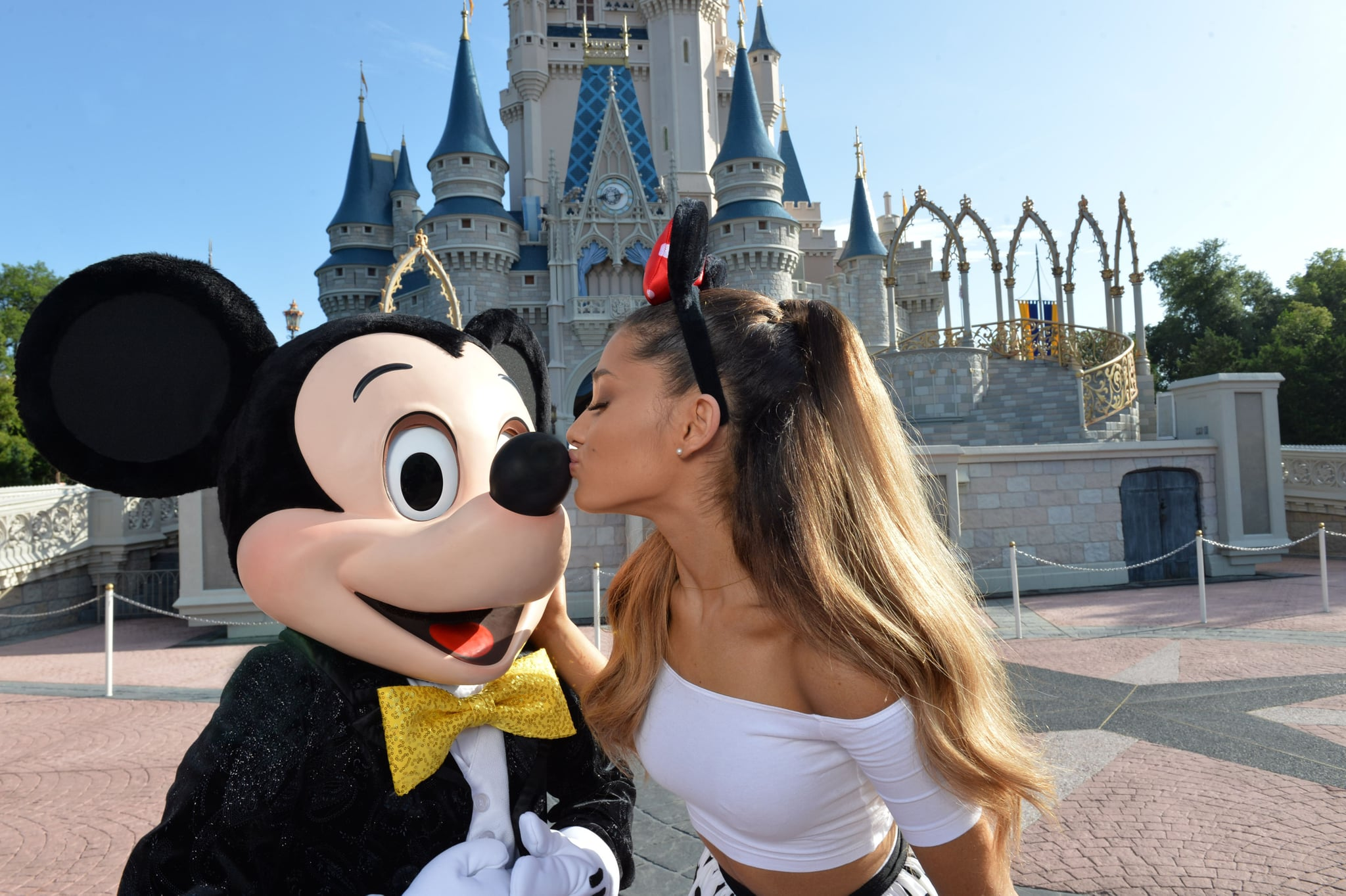 Ariana Grande celebrated her 21st birthday by kissing Mickey Mouse in June 2014.