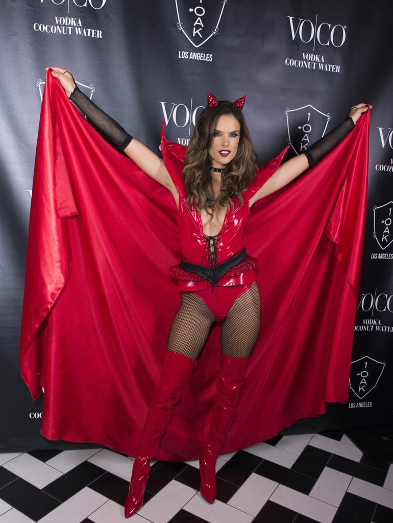 Alessandra Ambrosio sinned it up at a 2015 1OAK party as a red devil.