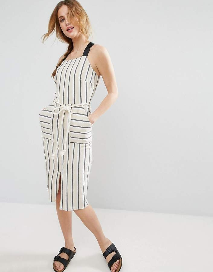 Asos Striped Sundress With Rope Belt