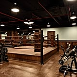 The gym has a boxing ring!
