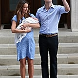Prince William waved to the crowd when he left St. Mary's Hospital with Kate Middleton and their newborn prince.