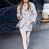 Gigi Hadid Looked Like a French Girl in a Gray Jacket and Matching Skirt