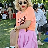 Singer Rita Ora stopped for a snap.
