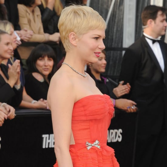 Michelle Williams Red Louis Vuitton Dress Pictures at 2012 Oscars