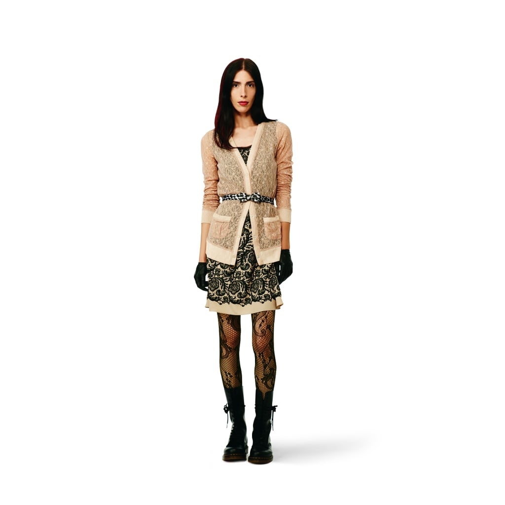 Lace-Print Dress in tan, $34.99 Lace Cardigan in tan, $29.99 Bow Belt in gray leopard, $12.99 Lace Tights in black, $12.99