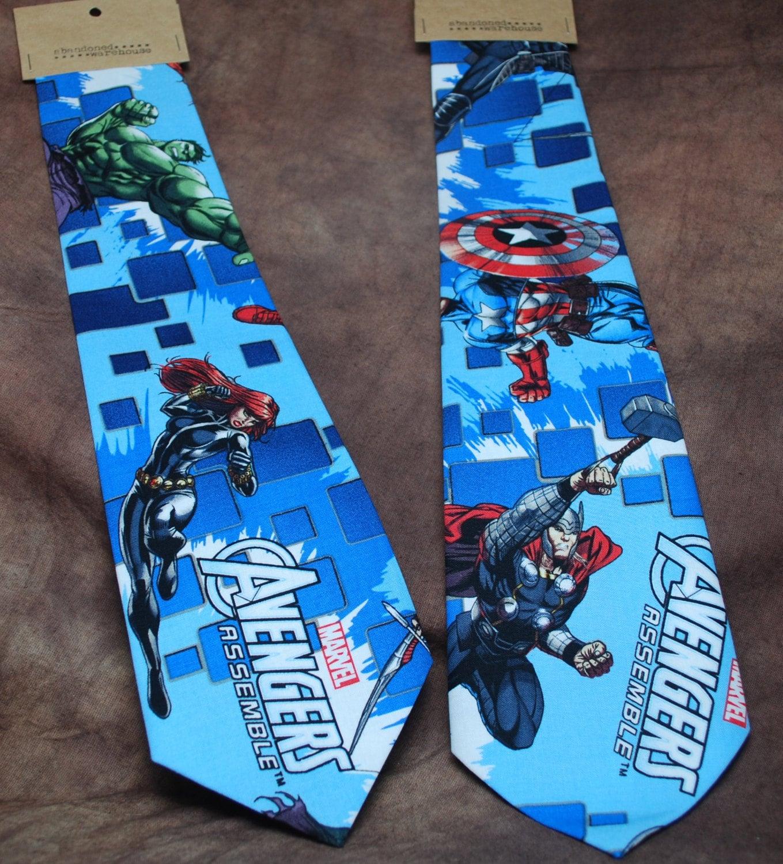 "<a href=""https://www.etsy.com/listing/174085698/avengers-assemble-neck-tie"">Avengers Assemble! Tie</a> ($33)"