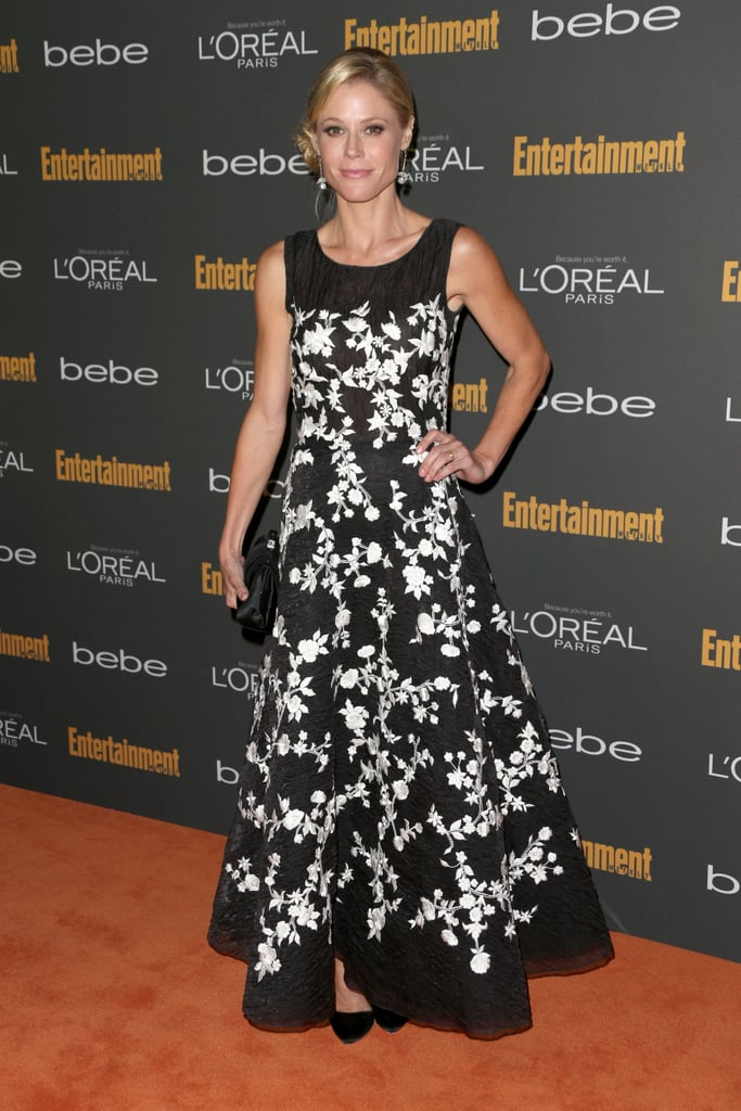 Julie Bowen's black-and-white floral gown, Rupert Sanderson pumps, and House of Lavande Vintage jewels stood out from the crowd at the pre-Emmys party red carpet.