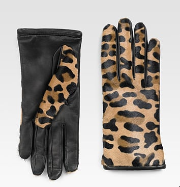 I'm still crushing on leopard, so these Saks Fifth Avenue Pony Hair & Leather Gloves ($175) are calling my name.
