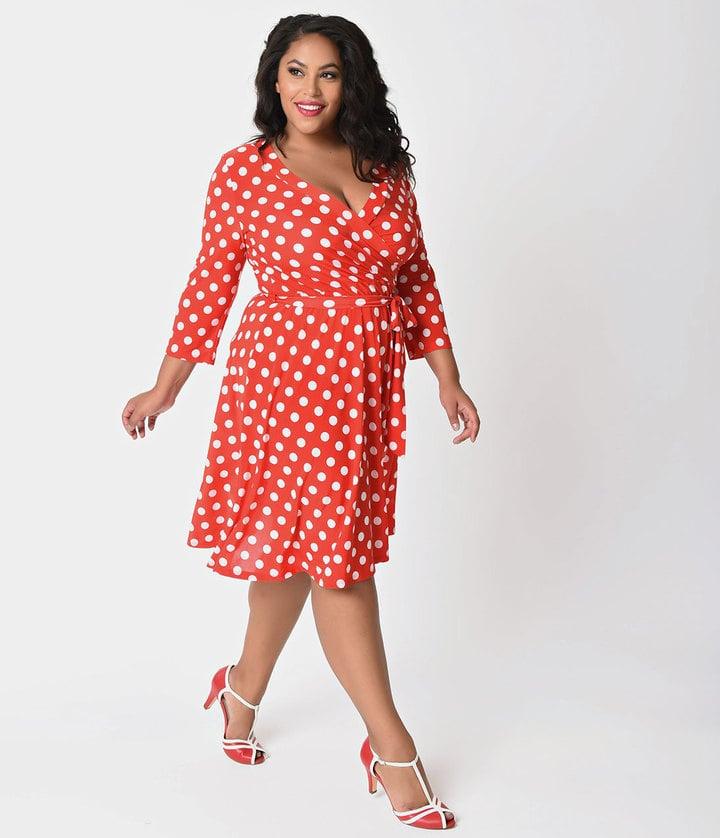 cdf4b9a68f Unique Vintage Plus-Size Polka Dot Dress