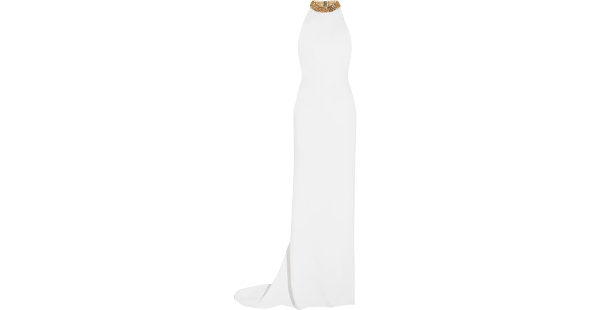 25eac04c27ef Stella McCartney Halterneck Chain-Embellished Stretch-Crepe Gown ...