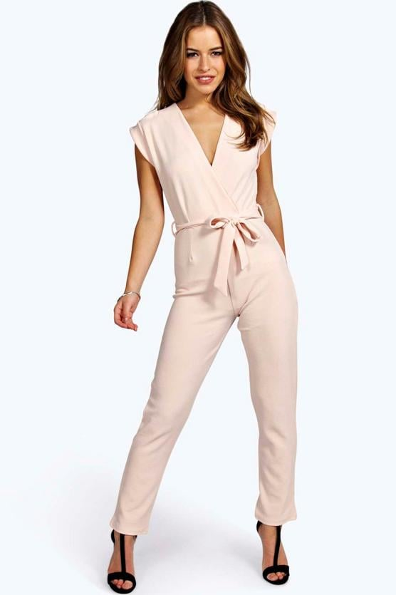 204307ace3e Boohoo Petite Millie Wrap Over Jumpsuit