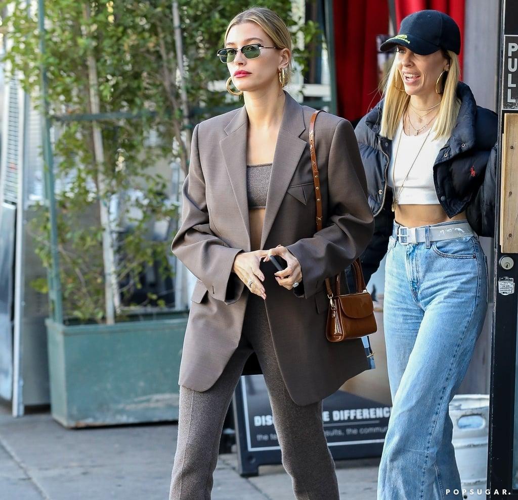 Hailey Bieber's Brown Cashmere Set and Oversize Blazer in LA