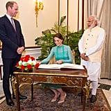 Kate Middleton in Temperley Meeting Narendra Modi