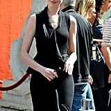 Anne's Givenchy sheath showed off her shape with its fit-and-flare peplum detailing at the waist and at the hem.