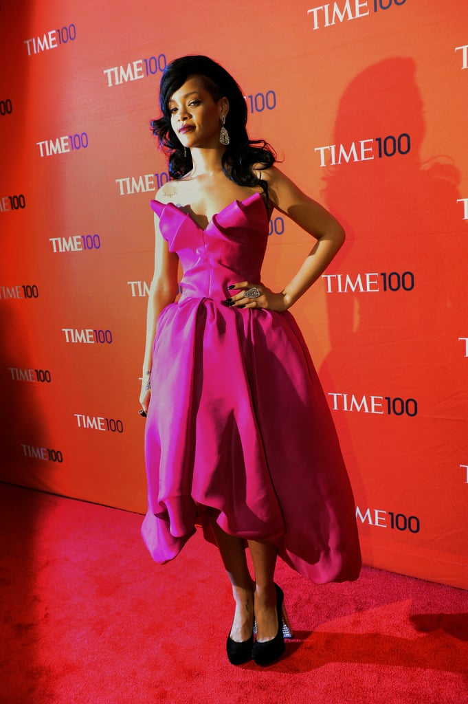 Rihanna showed off her bold-colored Marchesa dress on the ...