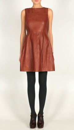 Nothing says Fall like a little bit of leather; this one comes in the perfect toffee-colored hue.  Tibi Leather Dress ($1,100)