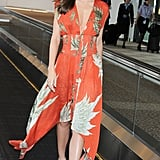 Miranda Kerr wore a printed dress.
